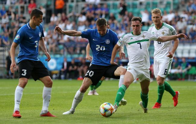 Gavin Whyte (No 7) in action for Northern Ireland against Estonia on Saturday  Picture: Steven Paston/PA Wire